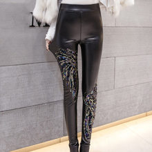 02a6ba82 Black Punk Gothic Women PU Leather Pants Stitching Embroidery Sequin Fall  Ladies High Waist Elastic Skinny