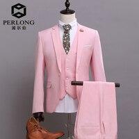 สีชมพูชุดยี่ห้อลำลองสำหรับบุรุษเสื้อคลุมบางพอดีแจ็คเก็ตกาง