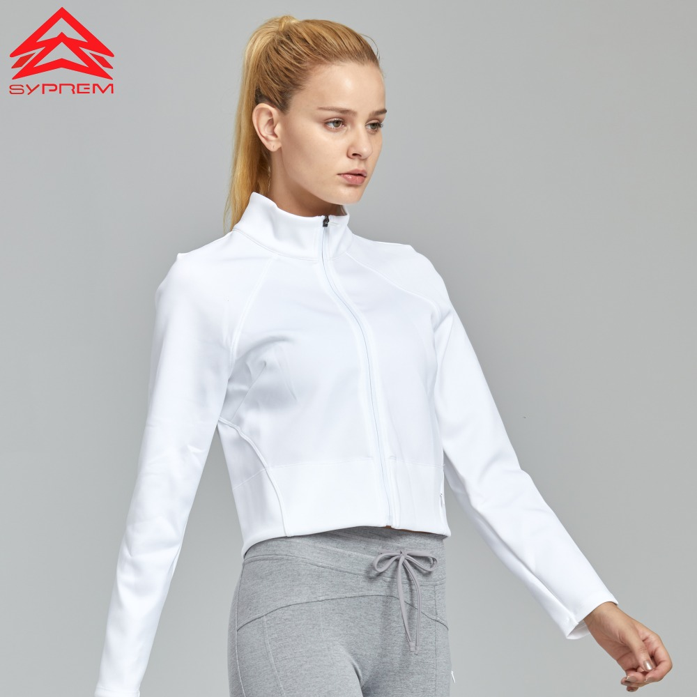 Syprem 2018 White Long Sleeve Zipper Yoga Jacket For Female Girl Sports Fitness Tracksuits Training Coat Gym Sweatshirts,FS4004-in Yoga Shirts from Sports & Entertainment    2