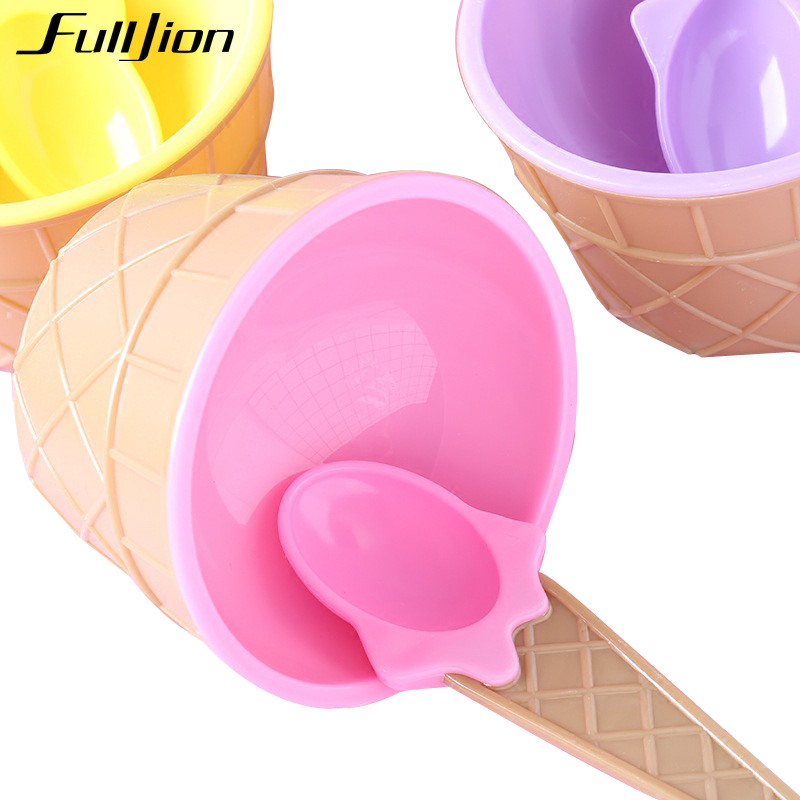 Fulljion Solid Feeding Baby Bowls Plates Children's Tableware Food Containers Cups Kids Dishes Ice Cream Bowls Spoons Dinnerware