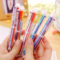 500pcs/set DHL Shipping Six In One Coloes Ball Pen Korea Creative Cute Multicolor Click Pen Multifunctional Office Stationery
