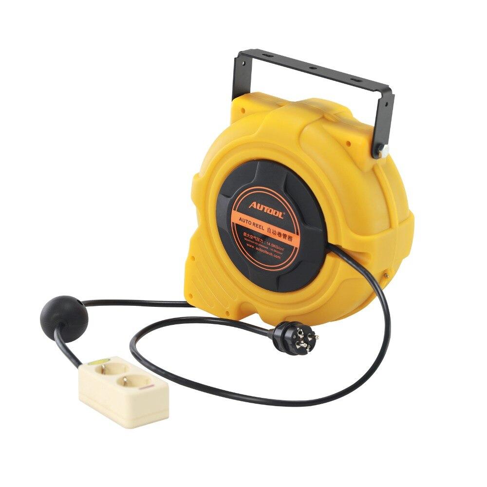 AUTOOL 15 м Автомобильный Электрический источник питания, катушка для шланга, автомобильная автоматическая выдвижная катушка, инструмент для намотки, вилка Европейского типа