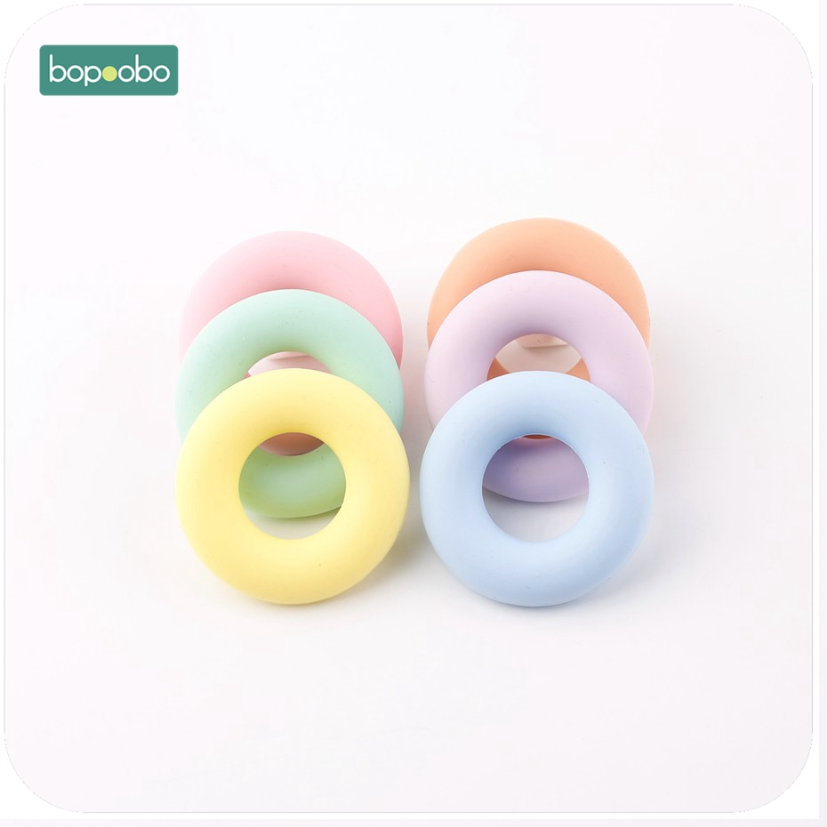 Bopoobo 5PC Silicone Ring Teether Chewable BPA Free Safe And Natual Teething Accessories DIY Crafts Baby Crib Toy Baby Teether