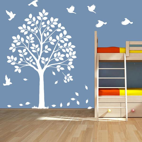 Muursticker Boom Wit.Wit Muursticker Boom Happy Tree Cot Side Boom Vogels Diy