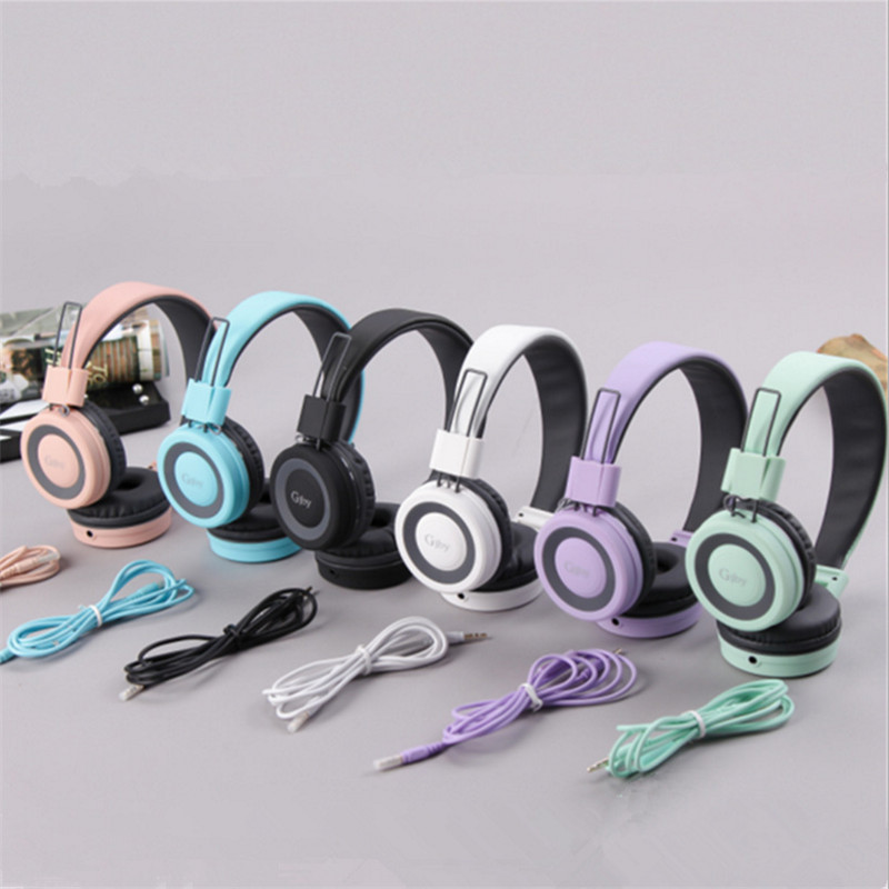 Fashion Beautiful Headband Stereo Headphones w/ Microphone Portable Wired Big Headset for Mobile Phone iPhone Samsung Gift