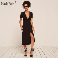 Nadafair 95 Cotton Knitted Deep V Neck Short Sleeve Split Sexy Club Midi Bodycon Bandage Women