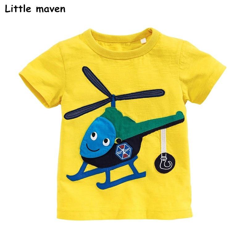 Little maven children 2018 summer baby boys clothes short sleeve t shirt helicopter applique Cotton brand tee tops 51031
