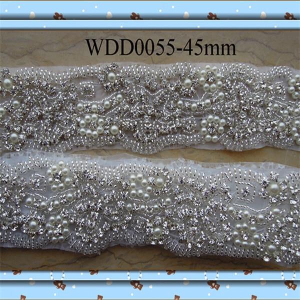(10 yards) Wholesale iron on bridal beaded rhinestone pearl applique trim  for wedding evening dress sash WDD0055 258bb18c9da2