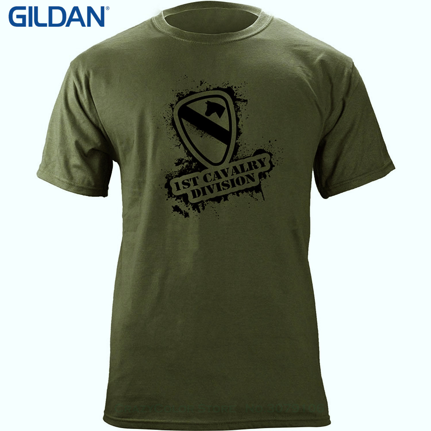 GILDAN 2017 New Arrival Men's Fashion Army 1st Cavalry Division Stencil Style T-shirt