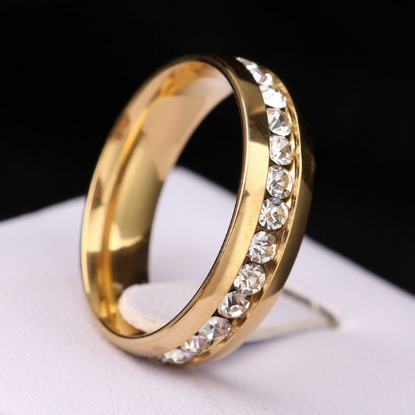 Classic Zircon Australia Crystal Stainless Steel Rings Fashion Jewelry Engagement Wedding Gift Finger Rings Eternity