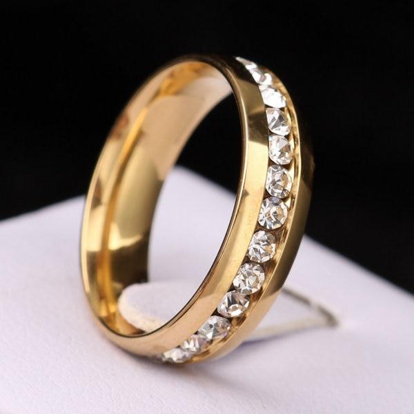 Classic Zircon Australia Crystal Stainless Steel Rings Fashion Jewelry Engagemen