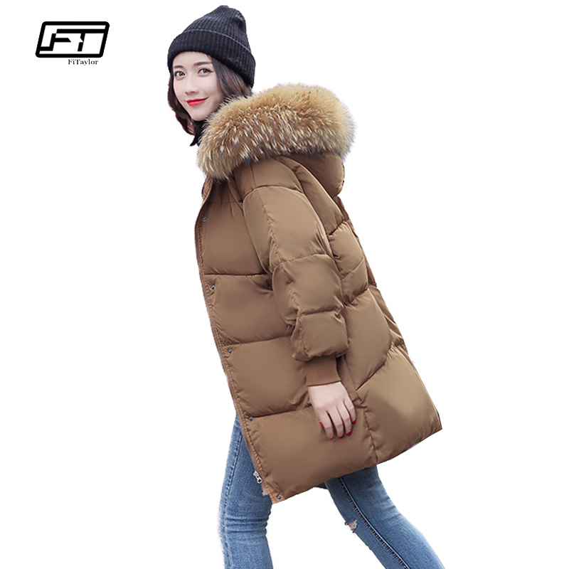 Fitaylor Winter Warm Jacket Women Hooded Cotton Padded Coat 2017 New Plus Size Loose Medium Long Jackets Overcoat Female Coats okxgnz winter cotton jacket coat women 2017long cotton padded costume hooded loose warm coats plus size women basic coats ah021