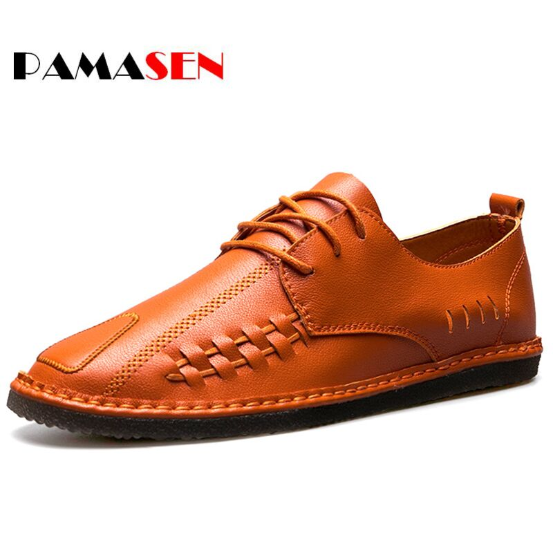Pamasen Ltalian Designers Shoes Fashion Men's Leather Moccasin Classic Men Shoes Breathable Men Casual Shoes Sapato Masculino branded men s penny loafes casual men s full grain leather emboss crocodile boat shoes slip on breathable moccasin driving shoes