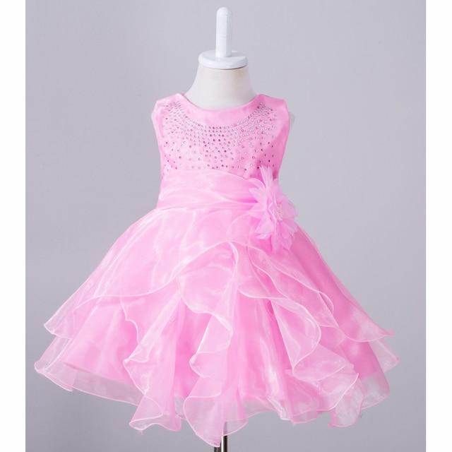 Elegant Girl Dress Girls  Summer Fashion rose red Pink Lace Big flower Party Flower Princess Wedding Dresses Baby Girldress 0-2Y