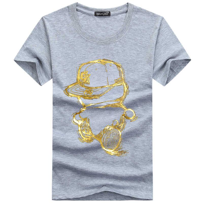 BINYUXD скидка 2017 новая модная летняя футболка мужская с круглым вырезом хлопковая Удобная футболка Повседневная футболка homme с коротким рукавом с принтом