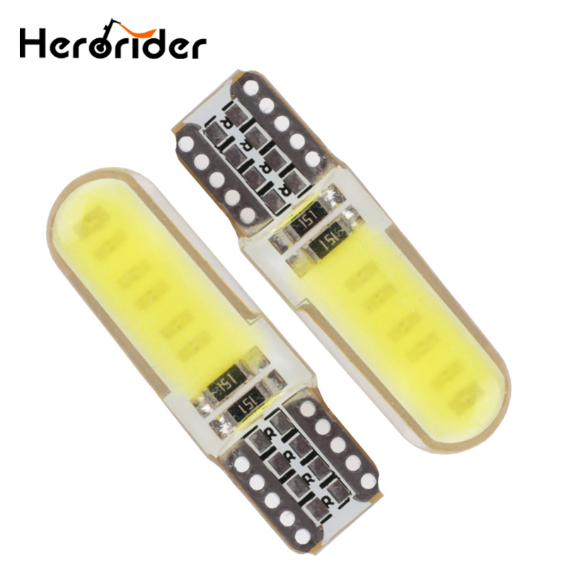10PCS Canbus T10 Led Car Bulb W5W Cob led 12V 6000k White Car Interior Light License Plate Wedge Parking Light Bulb Super White 10pcs led car interior bulb canbus error free t10 white 5730 8smd led 12v car side wedge light white lamp auto bulb car styling
