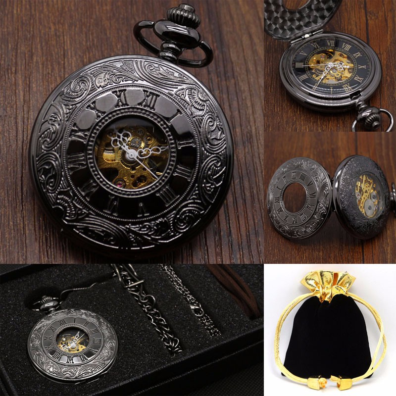 Mechanical Pocket Watches Sets Black Steampunk Skeleton Hand Wind Fob Watches Necklace Pendant Gift with Chain Box Bag for Mens цена и фото