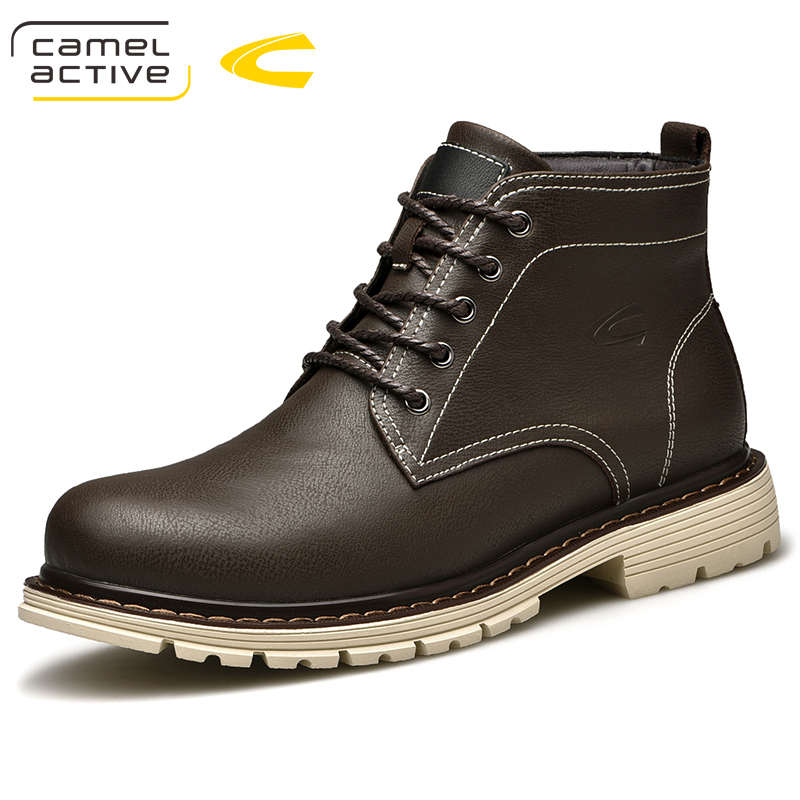 Camel Active New Genuine Leather Men Boots Spring Autumn And Winter Man Shoes Ankle Boots Men's Snow Shoes Work Plus size 44 цена