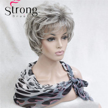 Short Layered Silver gray Ombre Full Synthetic Wig Women's Wigs