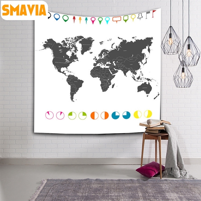 Aliexpress buy smavia simple world map series wall hanging smavia simple world map series wall hanging tapestry beach towel bed sheet picnic mat tablecloth 150 gumiabroncs Choice Image