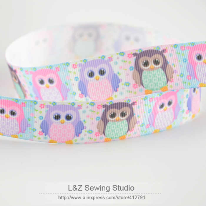 News F026#-10 cute owl designs min order is $5(mix order) 22mm printed grosgrain ribbon for hairbow DIY crafts L&Z sewing studio