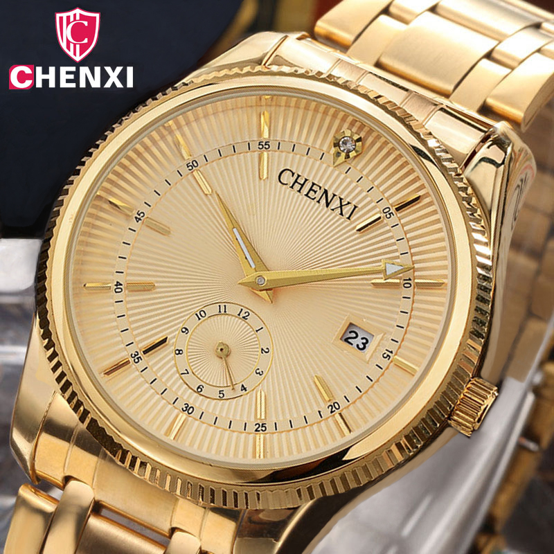 Brand CHENXI Men Dress Quartz Watch Luxury Design Rhinestone Full Stainless Steel Business Gold Wrist Watch