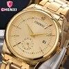 Brand CHENXI Men Dress Quartz Watch Luxury Design Rhinestone Full Stainless Steel Business Gold Wrist Watch