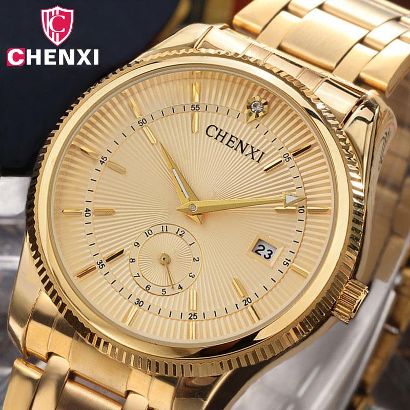 Prix pour 2017 chenxi montre en or hommes de luxe homme d'affaires montre d'or étanche unique mode casual quartz mâle robe horloge cadeau 069ipg