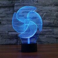 مصباح مروحة كهربائية ضوء الليل الإبداعية 3d الوهم 3d بناء جو ضوء الاكريليك الملونة الجدة إضاءة