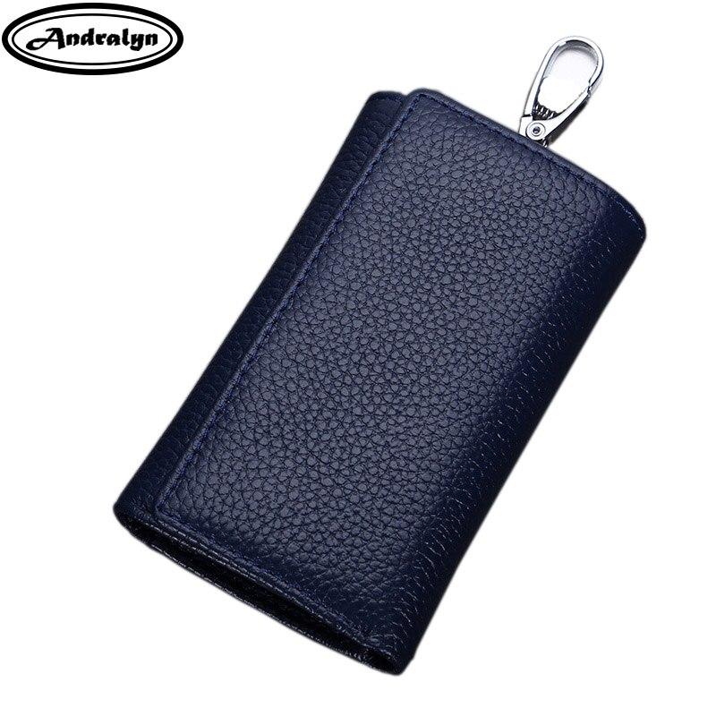 Andralyn Multifunctional Genuine Leather Men Key Bag Wallet Keychain Three Fold Bag Men Key Holder Housekeeper Keys Organizer andralyn розовый цвет номер l
