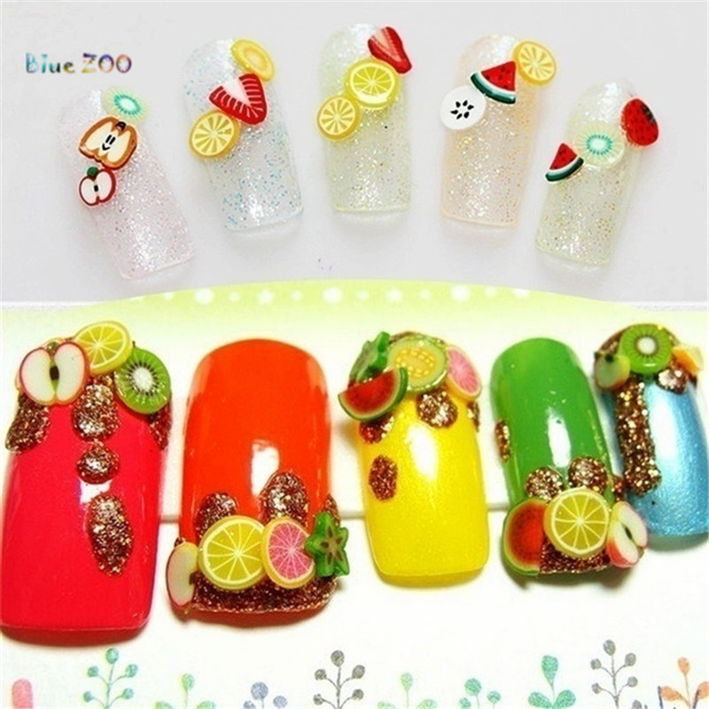 Blue Zoo 1000pcs Nail Art 3d Fruit Feather Flowers Mix Designs Tiny Fimo Slices Polymer Clay Diy Nail Stickers Decorations Nail Art 3d Polymer Clay Diy3d Fruit Aliexpress