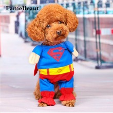 FameBeaut Lovely Pet Cat Dog Superman Costume Suit Puppy Dog Clothes Outfit Superhero Apparel Clothing for Dogs Autumn/Winter