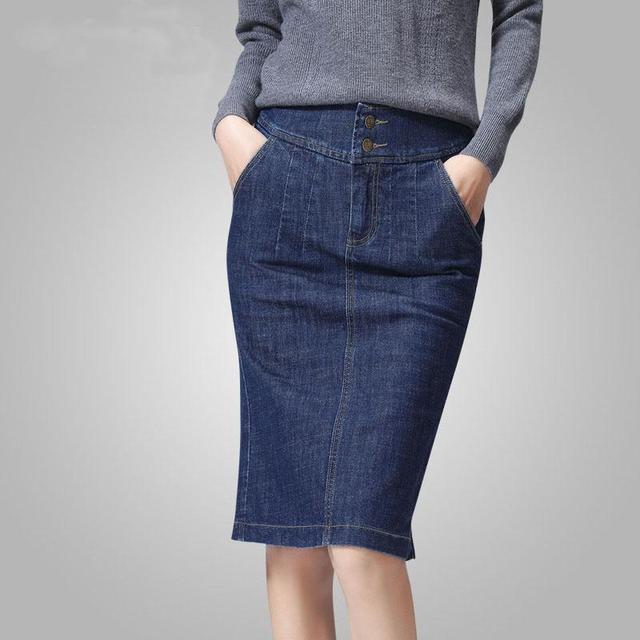 2017 Women Denim New Design Women Denim Pencil Skirt Fashion Straight Denim Skirt Hot Sale  Back Split Skirt