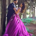 New 2016  A-Line Appliques Purple Wedding dresses Plus Size Sleeveless V-Neck Beaded Bridal Gown Robe Mariage Vestidos de novia