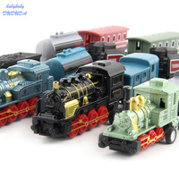 4Pcs Set Classical Alloy Retro Steam Train Simulated Joint Metal Model Kid Child Toys Gifts Pull