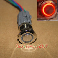 YOCOMYLY 5pcs 19mm 12v Red Ring LED Momentary Metal Push Button Switch with socket plug