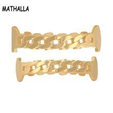 Mathalla простые золотые полированные зубные Зубы вампира грили