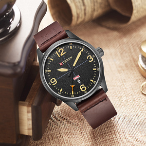 Image 5 - CURREN Brand Luxury Casual Military Quartz Watch Men Wristwatch Leather Strap Calendar erkek kol saati Relogio Masculino