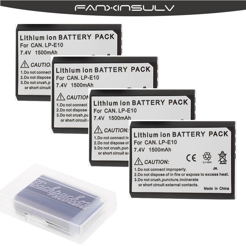 4x LP-E10 LP E10 LPE10 Caméra Batteries + Batterie pour Canon EOS 1100D 1200D 1300D 1500D Baiser X50 X70 X80 X90 Rebelles T3 T5 T6