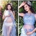 Nuevas mujeres embarazadas flores vestidos de noche dress fotografía apoyos de la fotografía de maternidad embarazo ropa de maternidad maxi dress