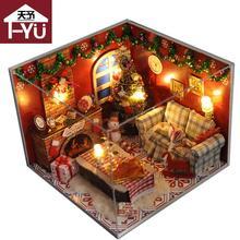 Рождественский Подарок Diy Деревянный Кукольный Домик С Мебелью Из Светлого Пылезащитный Чехол Миниатюрные Куклы 3D Головоломки Кукольный Домик Игрушка для Детей TW8
