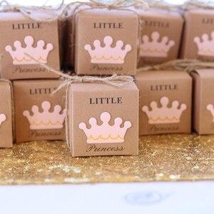 Image 1 - 5 sztuk śliczne księżniczka książę Kraft cukierkowa torebka na prezent pudełko płeć ujawnić Baby Shower chłopiec dziewczyna 1st dekoracja na roczek na rzecz