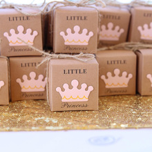 5pcs Cute Princess Prince Kraft Candy Bag Gift Box Gender Reveal Baby Shower boy girl 1st first Birthday Party Decoration favor