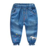 Cute Cartoon Unicorn Pattern Kids Jeans Spring Autumn Lovely Stars High Quality Children Pants Casual Trousers