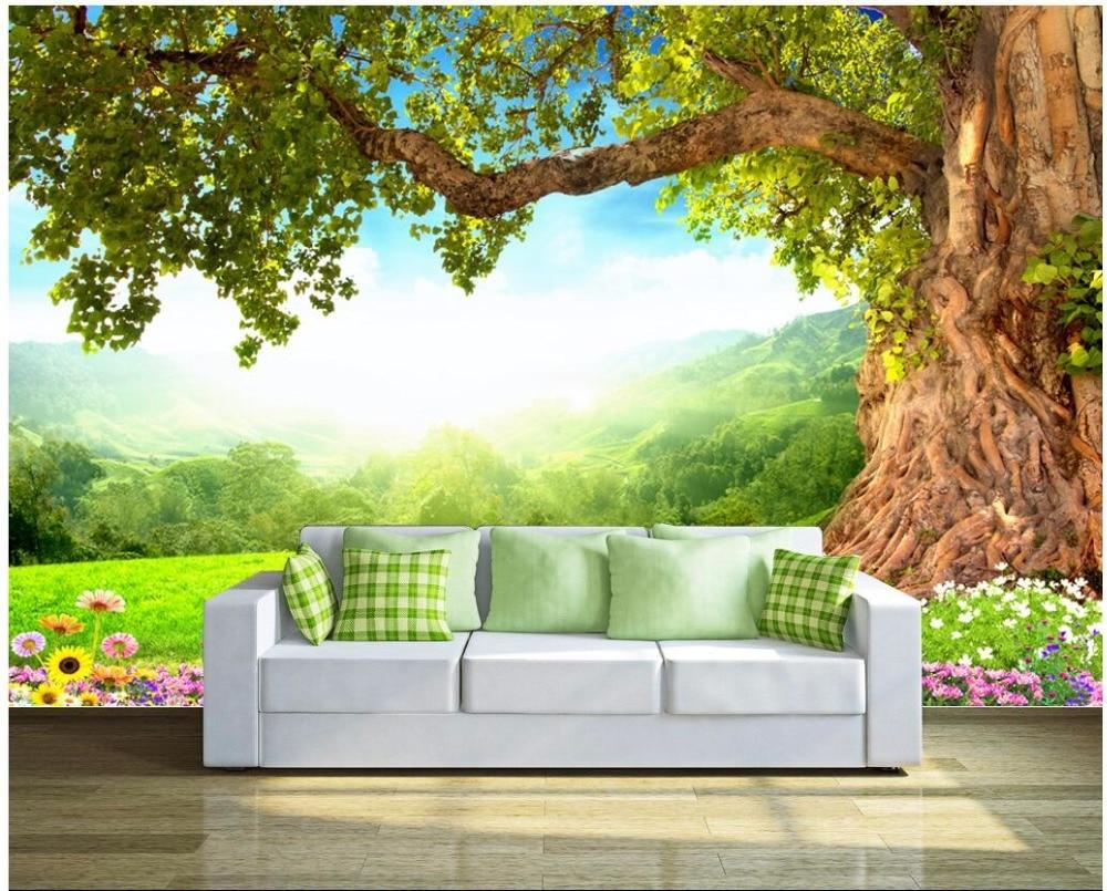 Custom 3d Photo Wallpaper 3d Wall Murals Wallpaper Hd: Custom Mural Photo 3d Wallpaper Fresh Grass Trees And