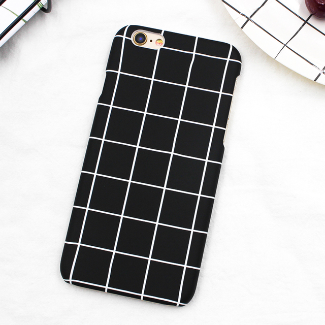 on sale b4c35 efdd0 US $1.99 |POEME CREATION Luxury Retro Black White Grid Case for iPhone X 6  6S 7 8 Plus Phone Cases Simple Matte Hard Back Cover Capa-in Fitted Cases  ...