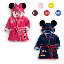 Retail!1 PC baby boy/girl CARTOON soft coral velvet gown children robe pajamas baby clothes kids pajamas high quality