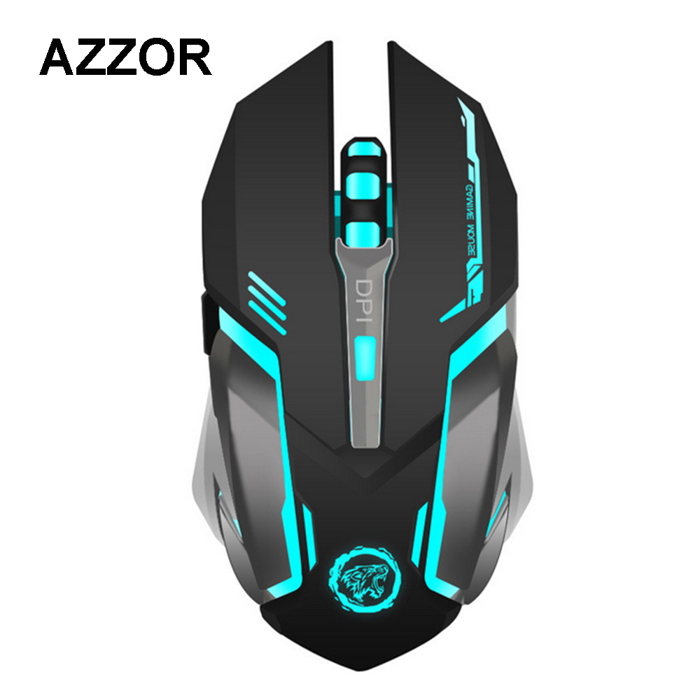 AZZOR Wireless Mouse Built-in Rechargeable Battery 7 Color Breathing Lamp Mouse Mute Silent Gaming Mouse with Charging Cable
