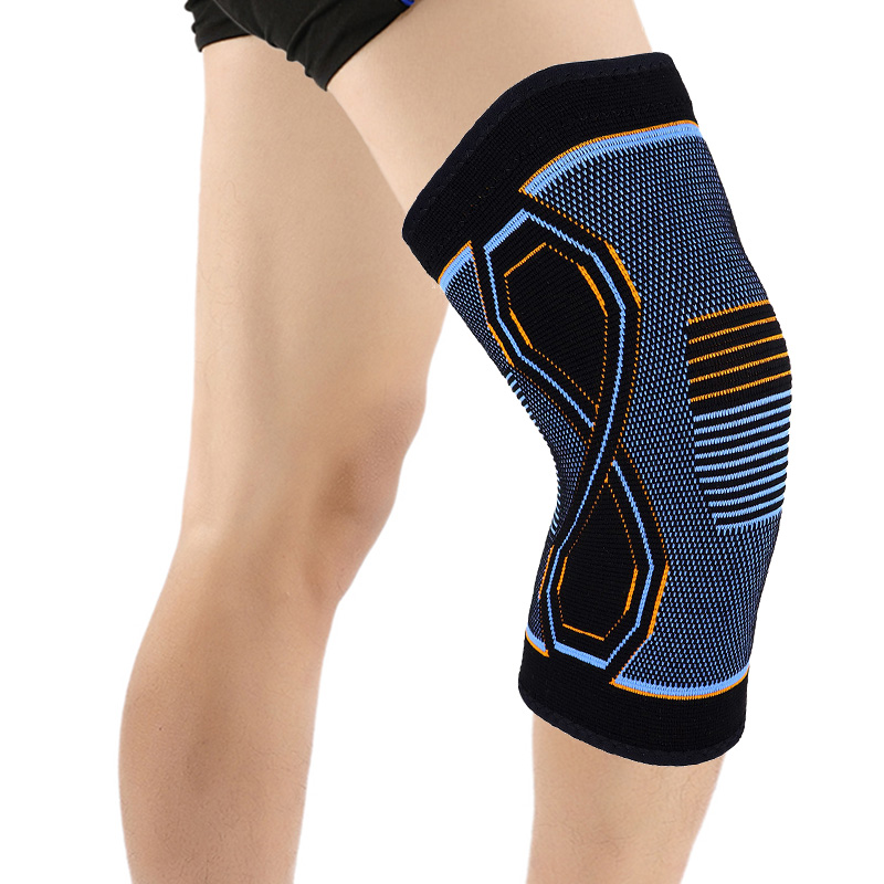 Tom's Hug 1 Pair <font><b>Sport</b></font> Knee Brace Support 8-shaped Blue Orange Pattern Kneepad Knee Pad for Joint Pain Relief <font><b>Injury</b></font> Recovery image