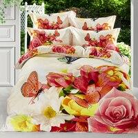 100%綿蝶花3d品質寝具セットクイーンサイズ用キッズ大人4ピース布団カバーセットベッドシート枕